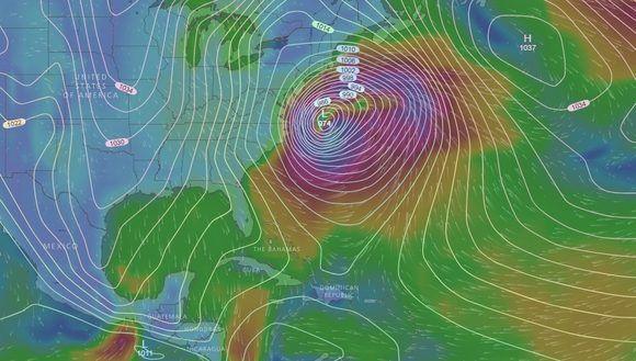 El centro de la gran baja invernal se ubicaría a menos de 300 km de las costas de Carolina del Norte, Estados Unidos, el 4 de enero. Modelo de predicción: Global Forecast System (GFS). Gráfico: Windy.