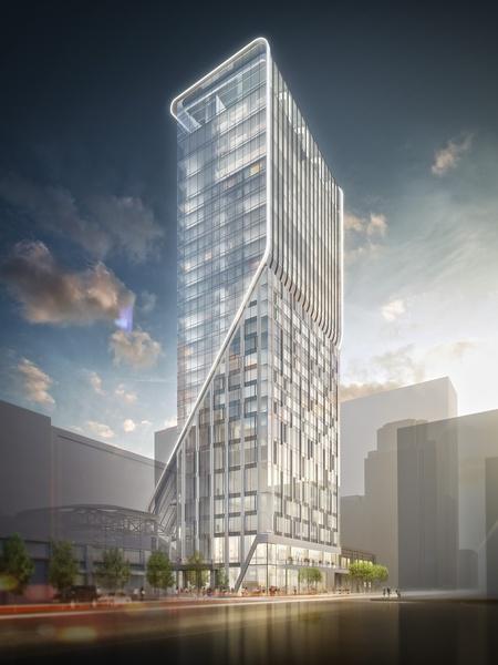 Hotel Alessandra luxury hotel rendering GreenStreet Super Bowl 2 street view