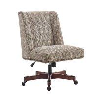Linon Draper Swivel Fabric Upholstered Office Chair in ...