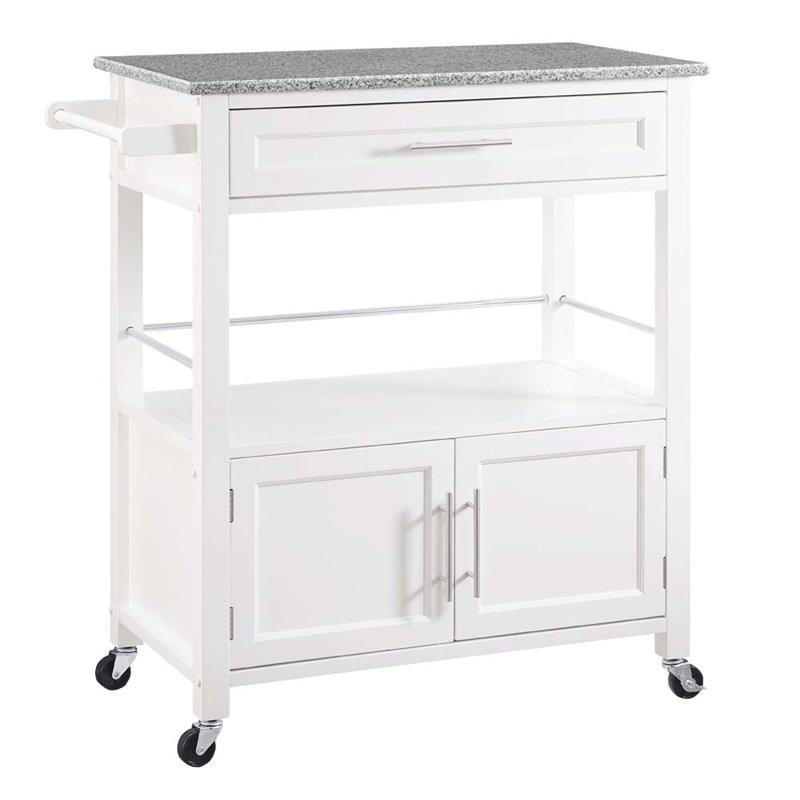 granite top kitchen cart cabinet trim installation linon cameron in white 464809wht01u