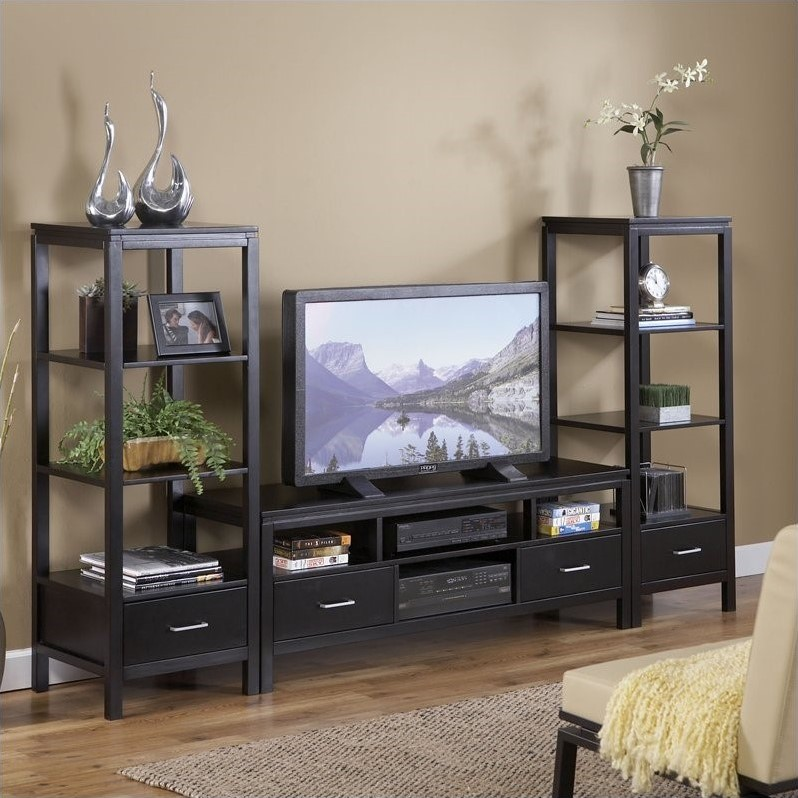 Plasma Center TV Stand and Towers Set  84026BLK01KDUPKG