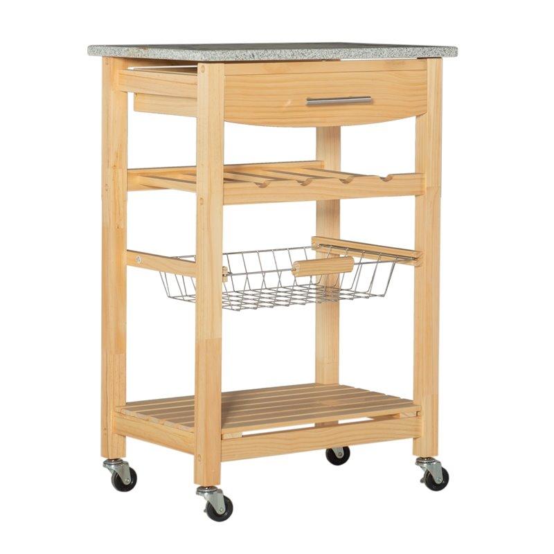 granite top kitchen cart over sink lighting in natural finish 44037nat 01 kd u