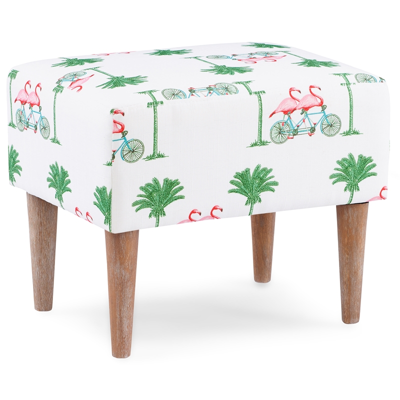 linon lily pink flamingo wood upholstered stool ottoman in white