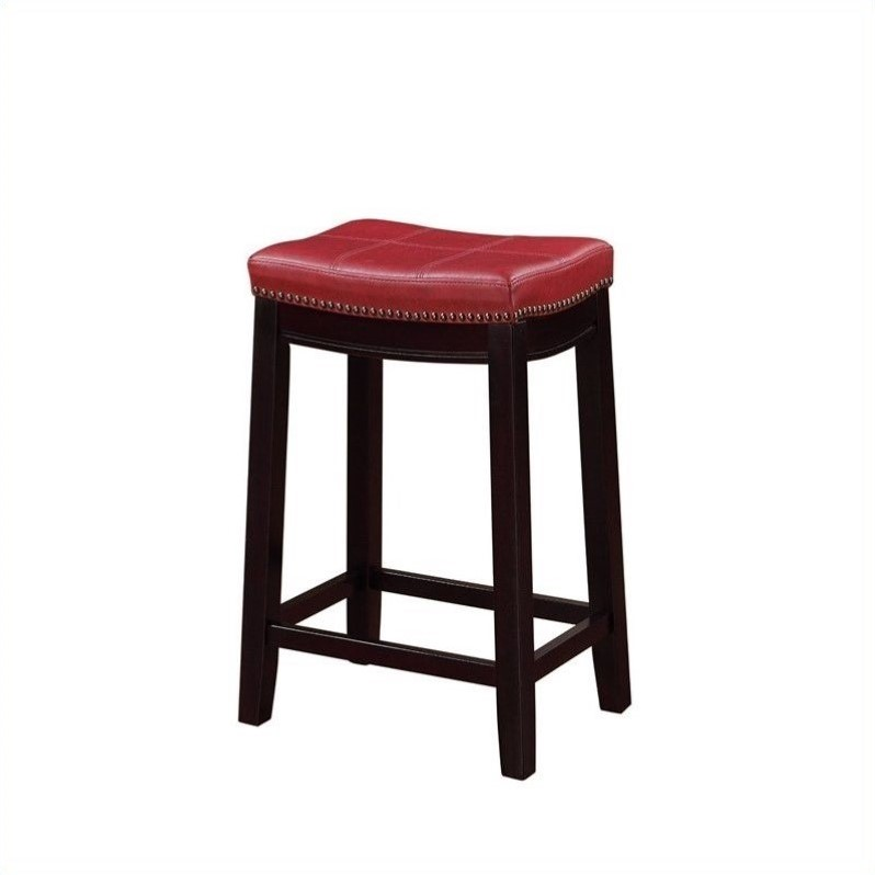 "Linon Claridge 24"" Counter Red Bar Stool"