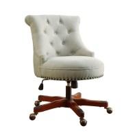 Armless Upholstered Office Chair in Dark Walnut - 178403NAT01U