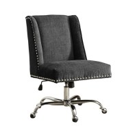 Armless Upholstered Office Chair in Charcoal - 178404CHAR01U