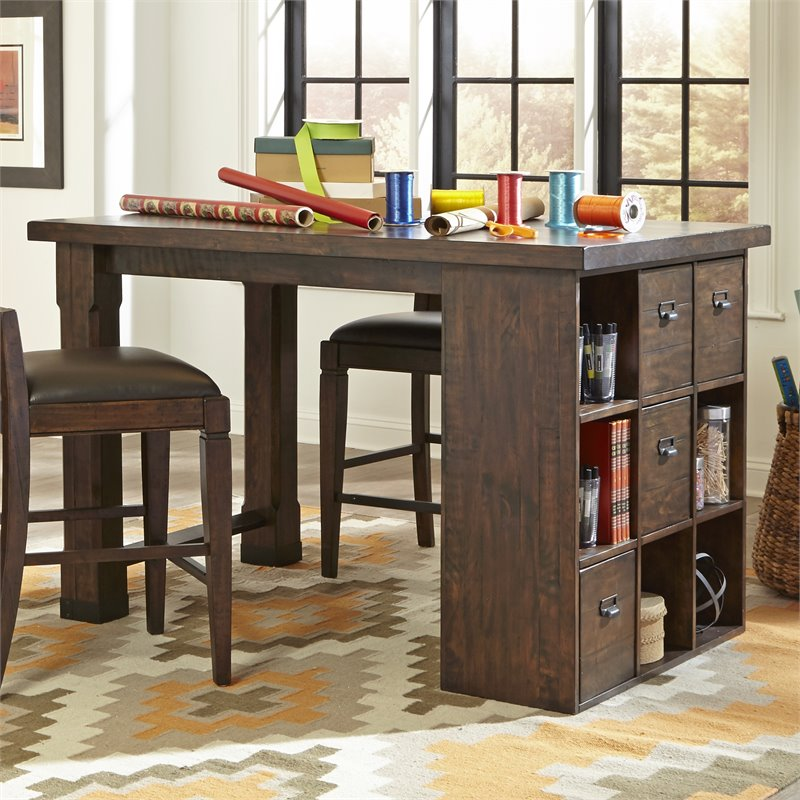 Magnussen Pine Hill Counter Height Storage Desk in Rustic