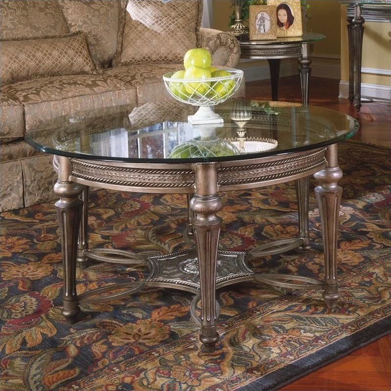 Magnussen Galloway Round Glass Top Cocktail Table with