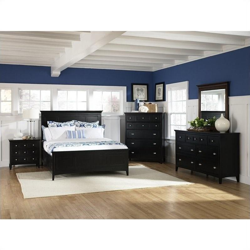 Magnussen Southampton Panel Bed 6 Piece Bedroom Set in Black Finish  B1399546PKG