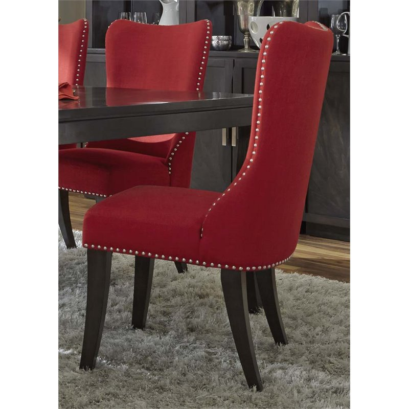 red tufted dining chair burnt orange rocking cushions liberty furniture platinum upholstered side in 861 c6501s r