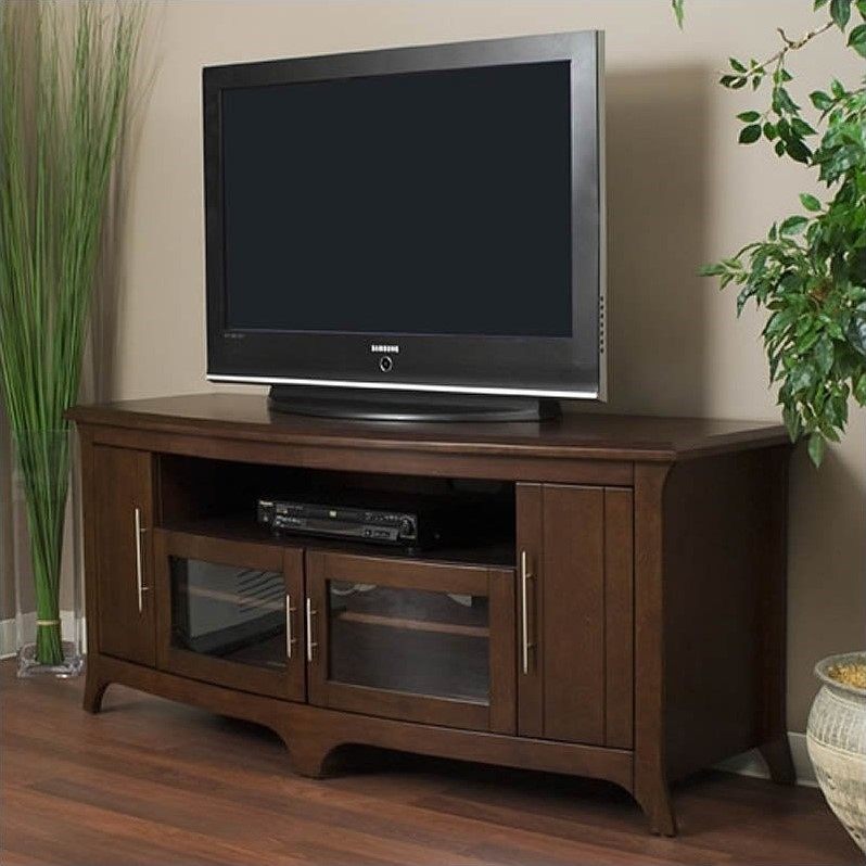 64 Walnut Curved Front AudioVideo Credenza  EOS6428