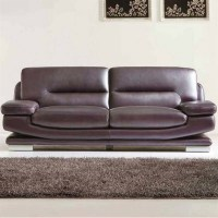 ESF Style Leather Sofa in Dark Purple and Brown - 27573BROWN