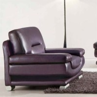 ESF Style Leather Club Chair in Dark Purple and Brown ...