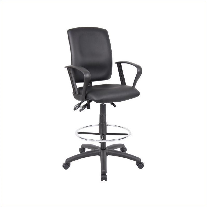 Multi Function Leather Drafting Chair With Loop Arms B1647