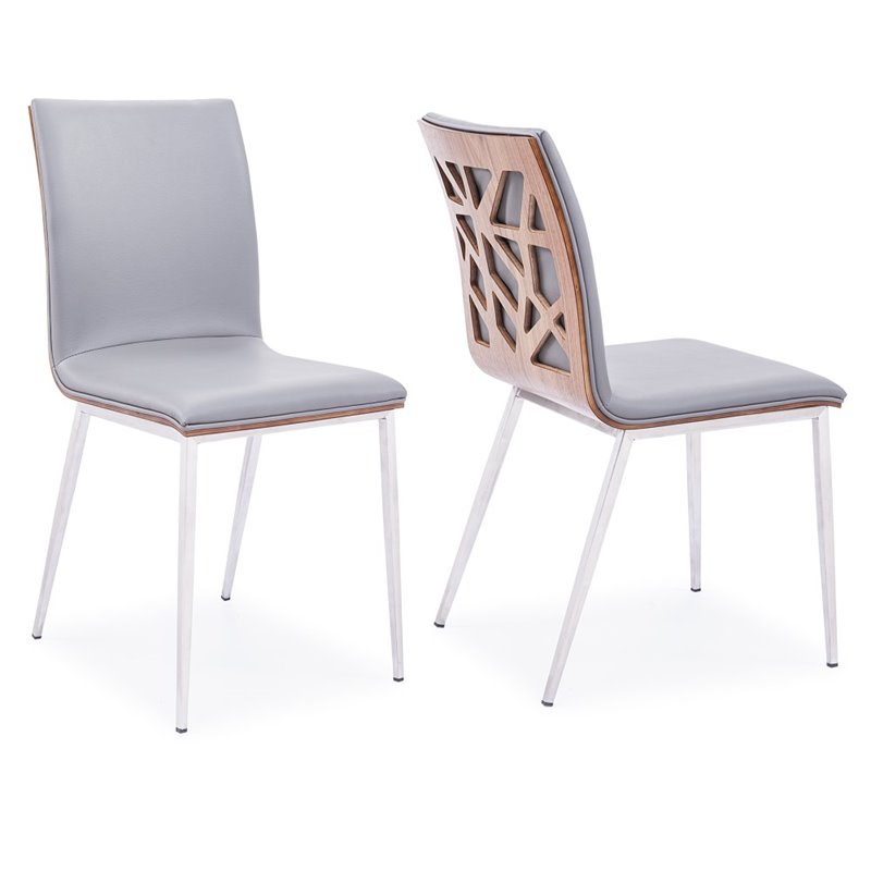 faux leather dining chairs at rooms to go armen living crystal chair in gray set of 2 lccrchgrpu