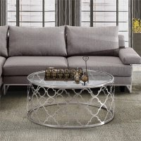 Armen Living Florence Round Glass Top Coffee Table in ...