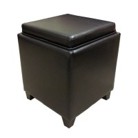 Armen Living Contemporary Storage Ottoman with Tray in ...