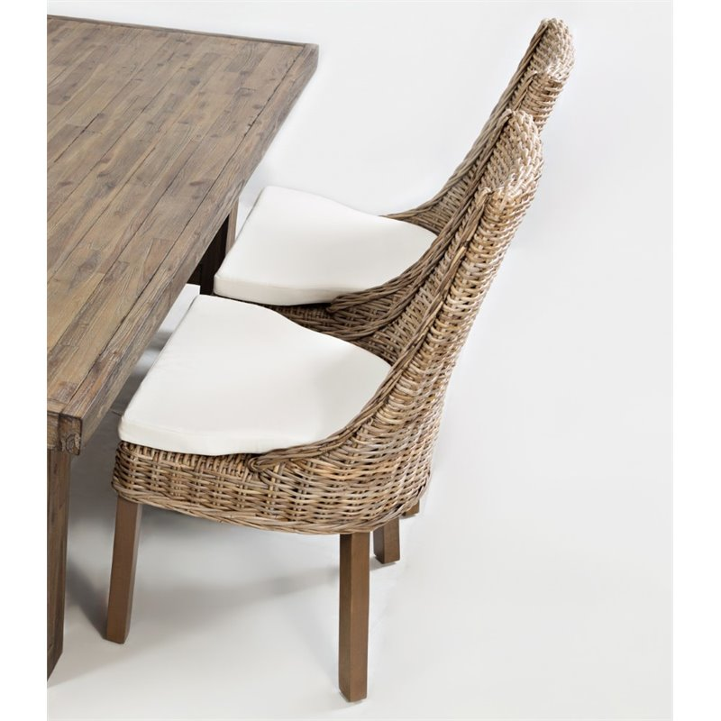 Jofran Hampton Road Rattan Dining Chair with Cushion Set