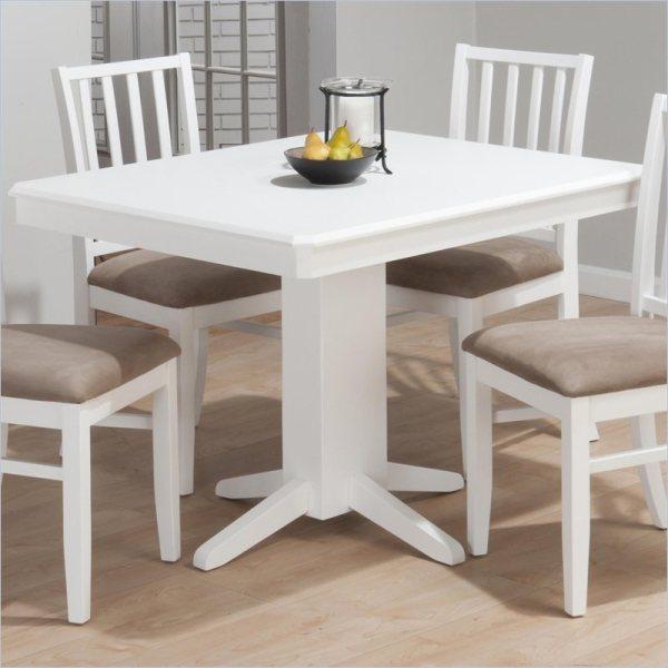 Aspen Rectangular Fixed Top Pedestal Dining Table In White