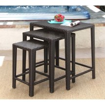 Abbyson Paige Outdoor Wicker 3 Piece Nesting Table Set In