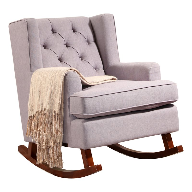 abbyson living thatcher fabric rocking chair in beige with tablet arm canada tufted rocker gray br k ra01 gry 1