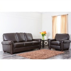 Abbyson Leather Sofa Reviews Southwest Style Covers London Top Grain And Armchair In Dark Brown Ch 1918 Brn 3 1