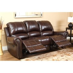 2 Piece Brown Leather Sofa With Washable Covers Abbyson Hogan Top Grain Reclining And Recliner Ch