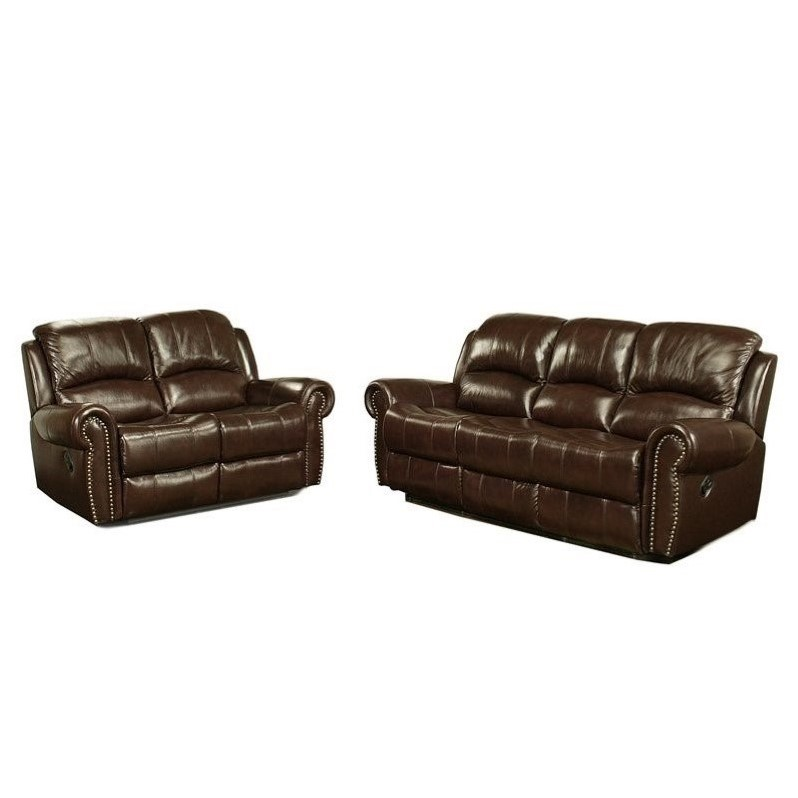 Abbyson Living Hogan Leather Reclining 2 Piece Sofa Set Sets 616241124629  eBay