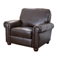 Abbyson London Top Grain Leather Armchair in Dark Brown ...