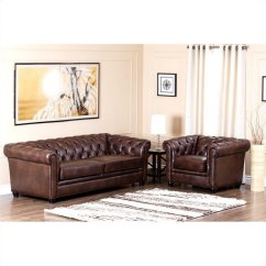 Abbyson Leather Sofa Reviews Pet Protector Waterproof Arcadian Top Grain And Armchair In Brown Ci 9193 Brn 3 1