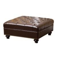 Abbyson Living Oreana Leather Ottoman Coffee Table in Dark ...