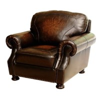 Abbyson Tannington Leather Arm Chair in Brown