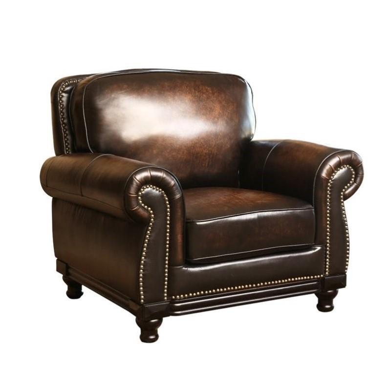 Abbyson Living Barclay Leather Arm Chair in Espresso  CI