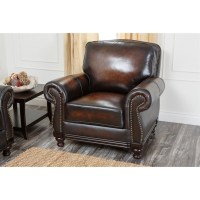 Abbyson Living Barclay Leather Arm Chair in Espresso - CI ...