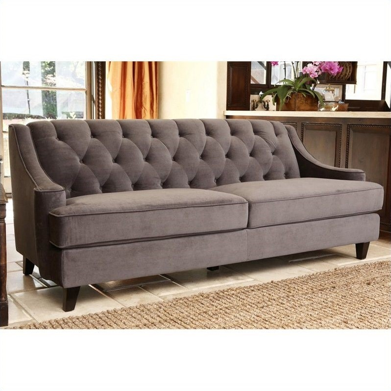 velvet grey tufted sofa nottingham sofascore abbyson emily in gray rl 1450 gry 3