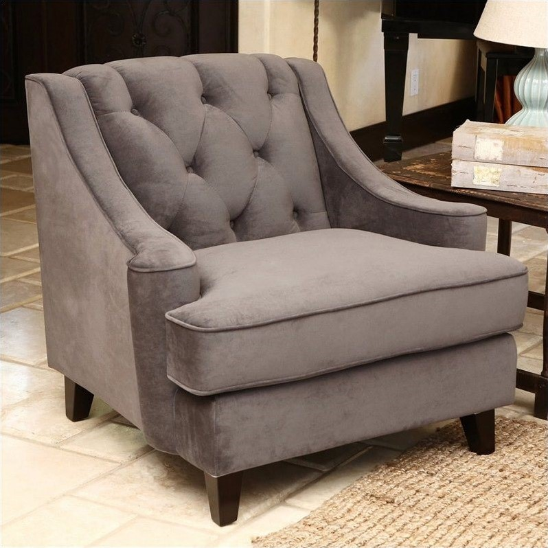 velvet tufted chair contemporary lounge abbyson emily arm in gray rl 1450 gry 1