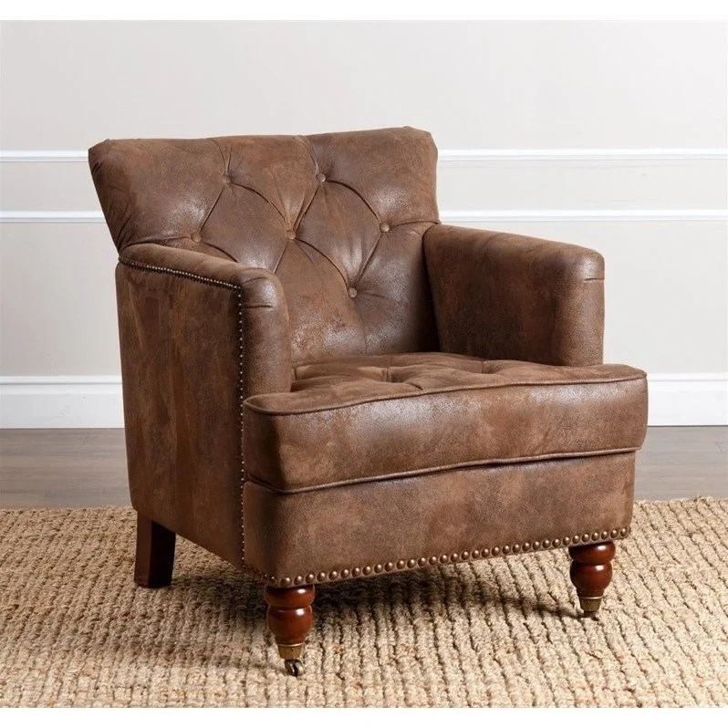 Abbyson Misha Tufted Fabric Accent Chair in Antique Brown