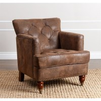 Abbyson Misha Tufted Fabric Accent Chair in Antique Brown ...