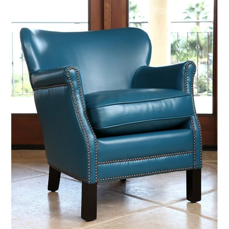 Sienna Leather Petite Accent Chair in Aqua Blue  BR