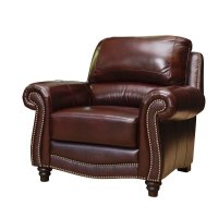 Abbyson Living Terbella Leather Accent Chair in Dark ...
