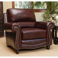 Abbyson Living Terbella Leather Accent Chair in Dark
