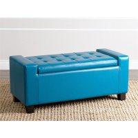 Sawyer Leather Storage Ottoman in Turquoise - BR-OT-3000-TQS