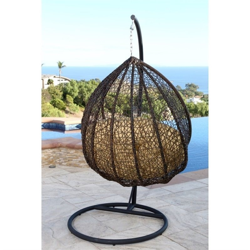 outdoor wicker swing chair black walnut dining chairs abbyson sonoma in yellow dl rsc001 ylw
