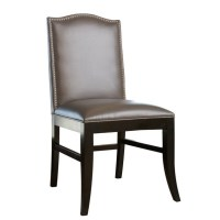 Abbyson Royal Leather Nailhead trim Dining Chair in Gray ...