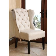 Accent Wingback Chairs Metal Chair Glides For Carpet Abbyson Kyrra Tufted Linen Dining In Cream - Br-ac1059-crm