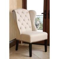Abbyson Kyrra Tufted Linen Wingback Dining Chair in Cream ...