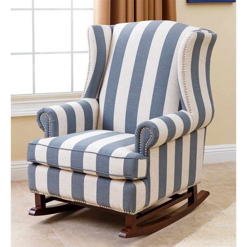 abbyson living thatcher fabric rocking chair in beige hanging uae chelsie blue and ivory br k ra03 blu 1