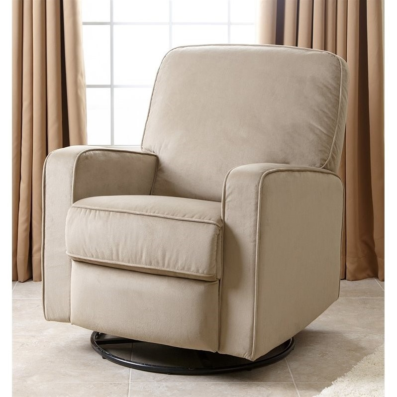 glider recliner chair ez hang chairs instructions abbyson ravenna fabric swivel in beige cr 10406 bge