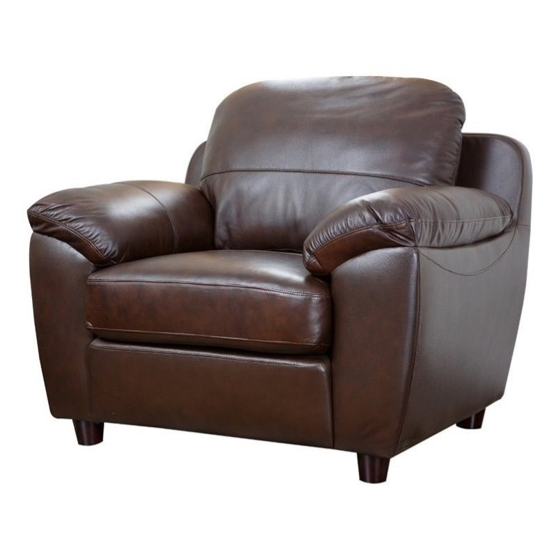 Abbyson Living Bella Leather Arm Chair in Brown  SQ1281