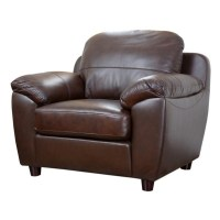 Abbyson Living Bella Leather Arm Chair in Brown - SQ-1281 ...